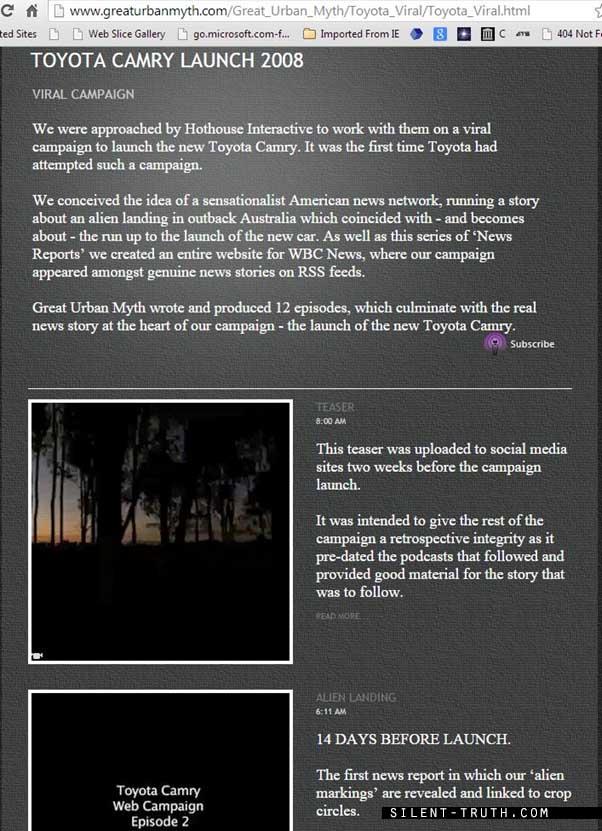 کلیپ یوفوی جنگل استرالیاکه در وبسایت مشاور تبلیغاتی خلاق استرالیایی به نام «Great Urban Myth» همراه با توضیحاتی پیرامون آن ارائه شده است .