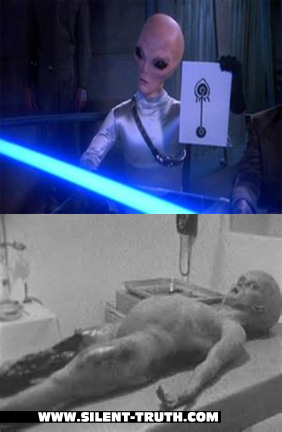 بالا: بیگانه حاضر در فیلم بابل-5 (1994)؛ پایین: بیگانه کالبد شکافی شده در فیلم کالبد شکافی بیگانه سانتیلی (1995)