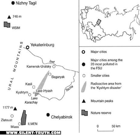 محوطه ی خاکستری کم رنگ در قسمت نقشه، نحوه ی پخش شدن آلودگی هسته ای تاسیسات مایاک را نشان می دهد که فاصله ای با روستای کیشتیم نداشته است.