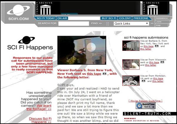 صفحه ای از کانال سای فای که فیلم مورد بحث در آنجا بارگذاری شده است. در این صفحه عناوین خبری دیگری همانند پسر مغناطیسی و هیولای دریاچه چامپلین نیز قابل مشاهده است.